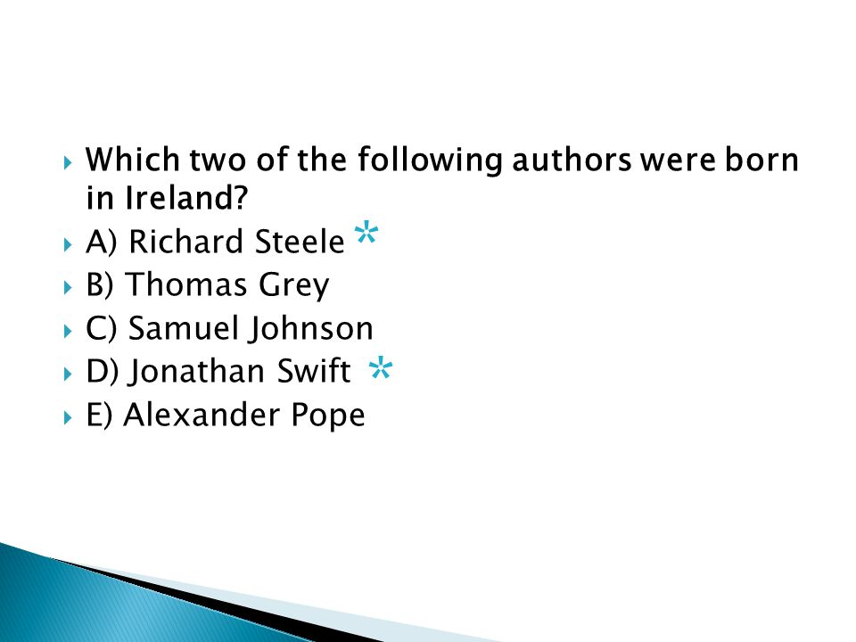  Which two of the following authors were born in Ireland.