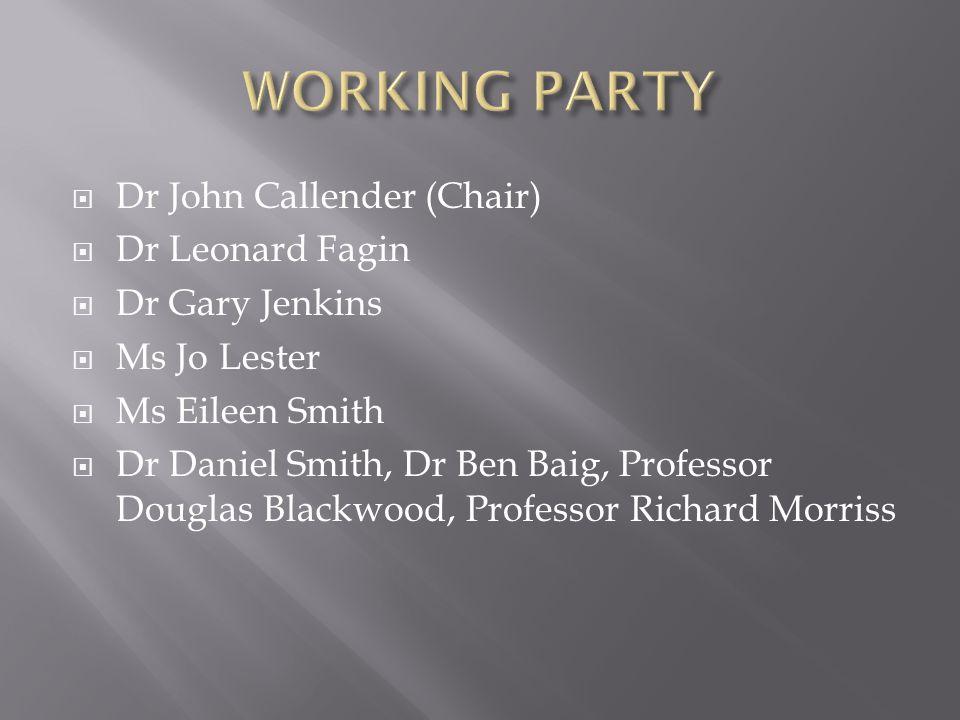  Dr John Callender (Chair)  Dr Leonard Fagin  Dr Gary Jenkins  Ms Jo Lester  Ms Eileen Smith  Dr Daniel Smith, Dr Ben Baig, Professor Douglas Blackwood, Professor Richard Morriss