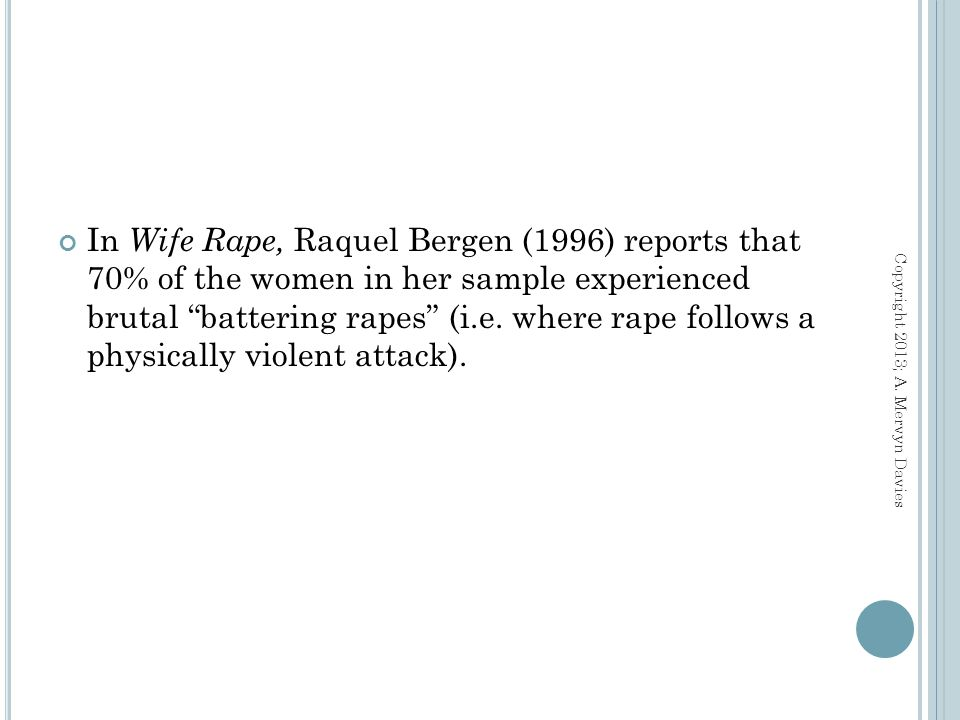 In famous words of pioneer researchers in this field David Finkelhor and Kersti Yllo (1985): When you are raped by a stranger you live with a frightening memory.