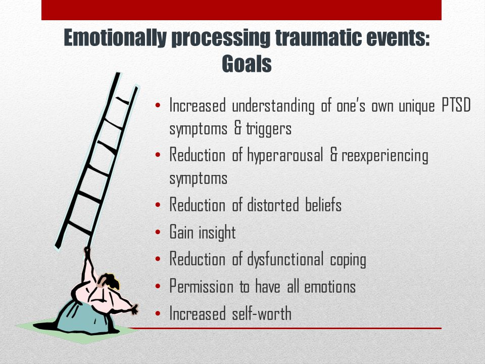 Emotionally processing traumatic events: Goals Increased understanding of one's own unique PTSD symptoms & triggers Reduction of hyperarousal & reexpe