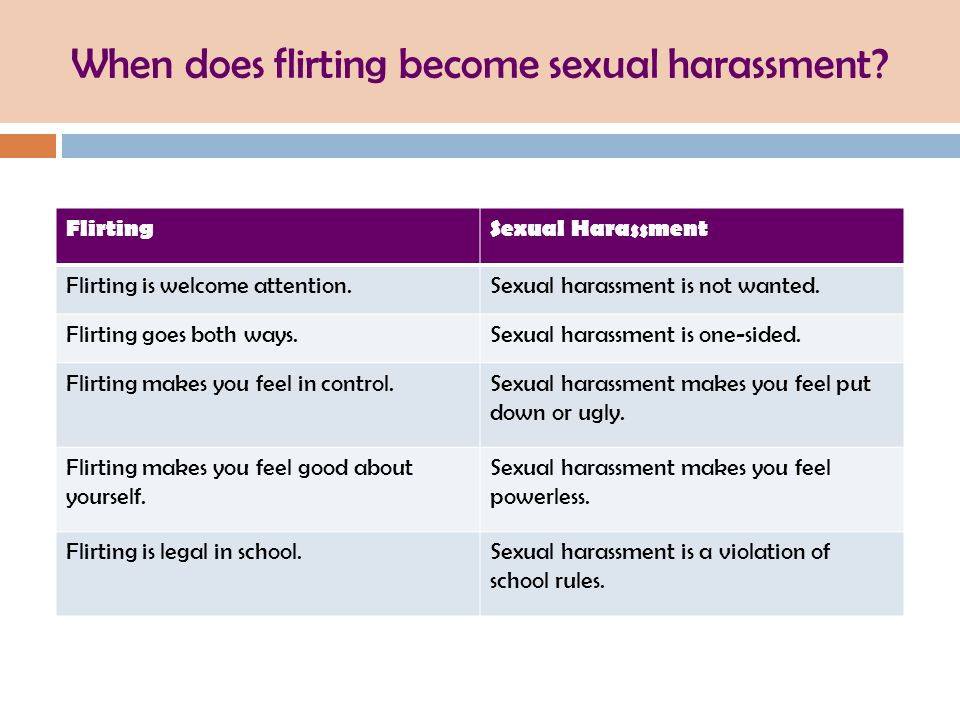 When does flirting become sexual harassment? FlirtingSexual Harassment Flirting is welcome attention.Sexual harassment is not wanted. Flirting goes bo