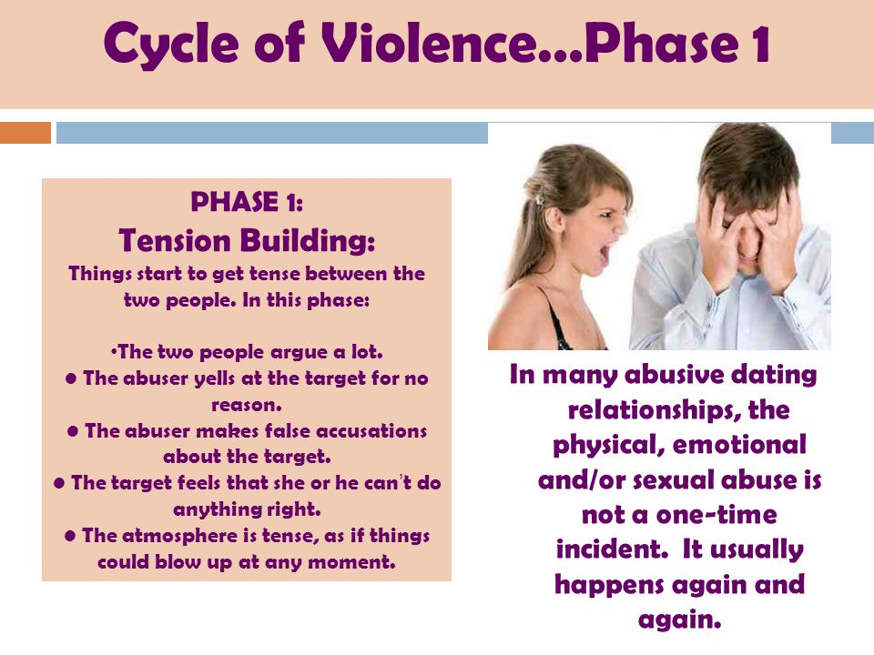Cycle of Violence…Phase 1 In many abusive dating relationships, the physical, emotional and/or sexual abuse is not a one-time incident. It usually hap