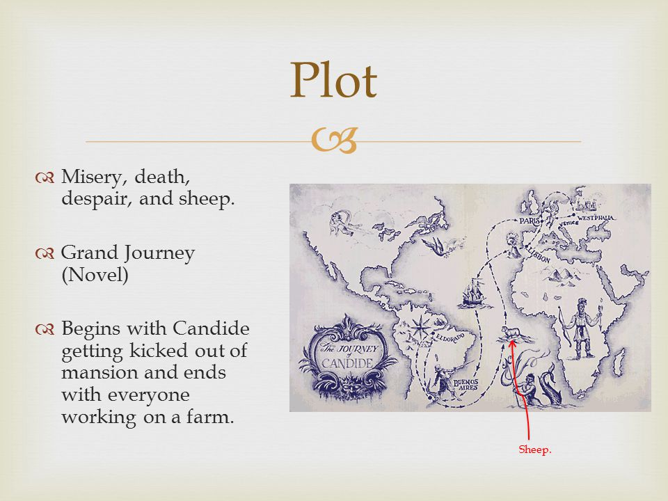   Candide -- Flat as can be.Easily influenced. Either determined or ignorant.