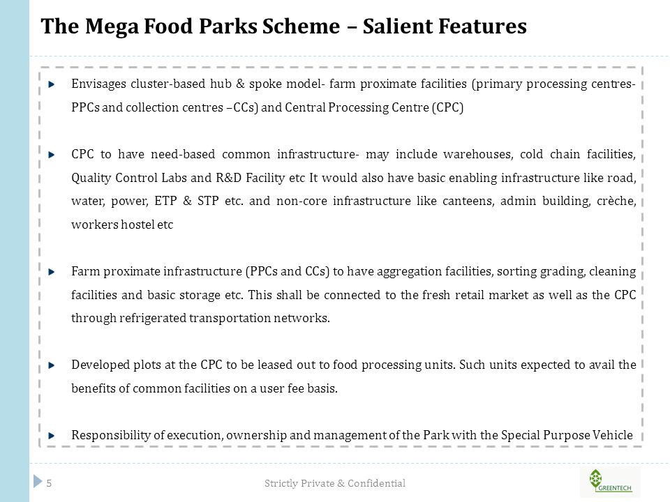 The Mega Food Parks Model – Picture Representation Strictly Private & Confidential6