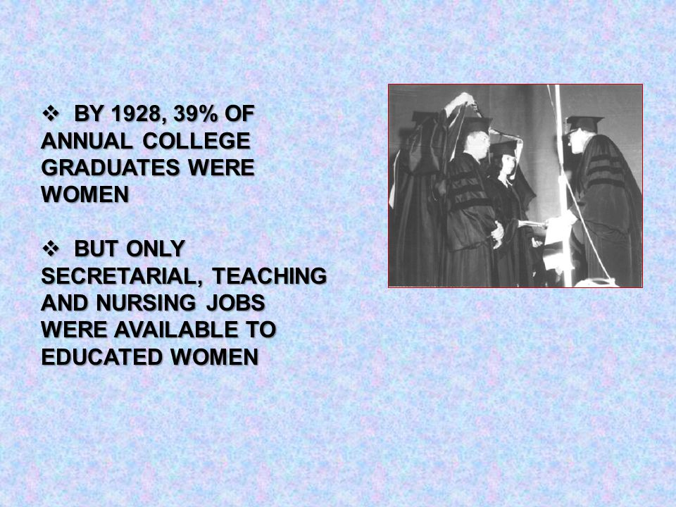  BY 1928, 39% OF ANNUAL COLLEGE GRADUATES WERE WOMEN  BUT ONLY SECRETARIAL, TEACHING AND NURSING JOBS WERE AVAILABLE TO EDUCATED WOMEN