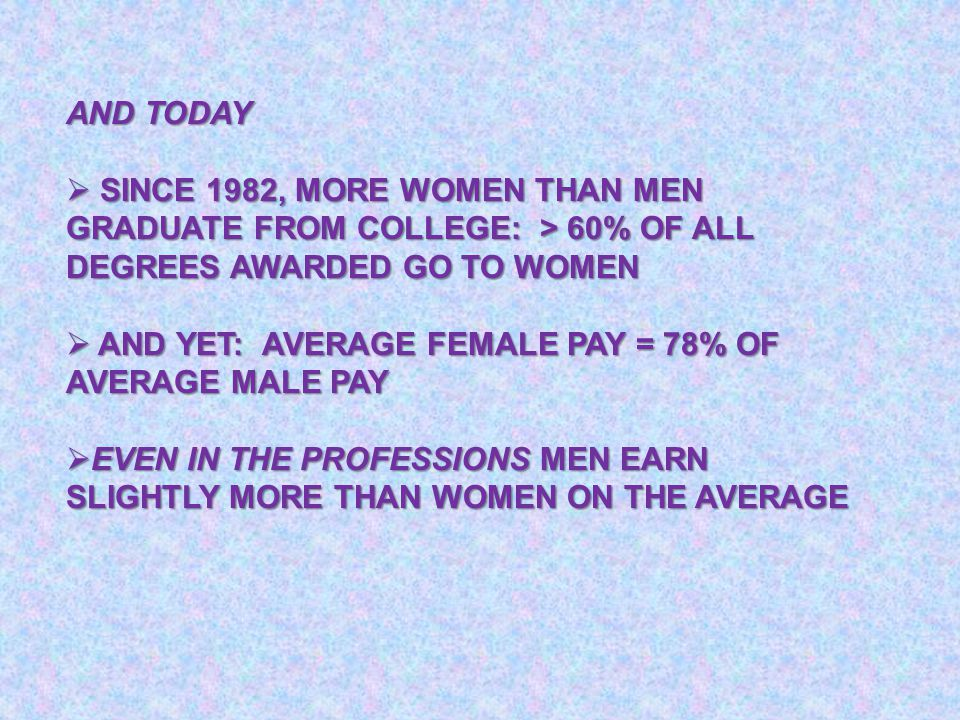 AND TODAY  SINCE 1982, MORE WOMEN THAN MEN GRADUATE FROM COLLEGE: > 60% OF ALL DEGREES AWARDED GO TO WOMEN  AND YET: AVERAGE FEMALE PAY = 78% OF AVE