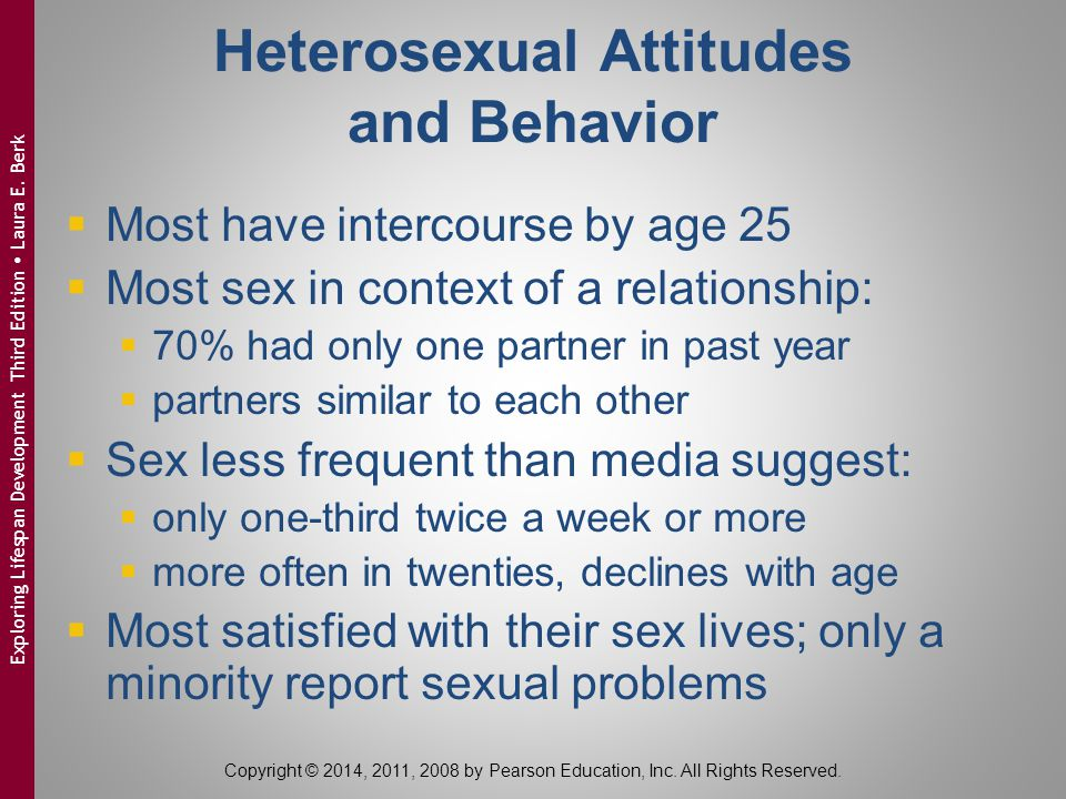 Heterosexual Attitudes and Behavior  Most have intercourse by age 25  Most sex in context of a relationship:  70% had only one partner in past year  partners similar to each other  Sex less frequent than media suggest:  only one-third twice a week or more  more often in twenties, declines with age  Most satisfied with their sex lives; only a minority report sexual problems Copyright © 2014, 2011, 2008 by Pearson Education, Inc.