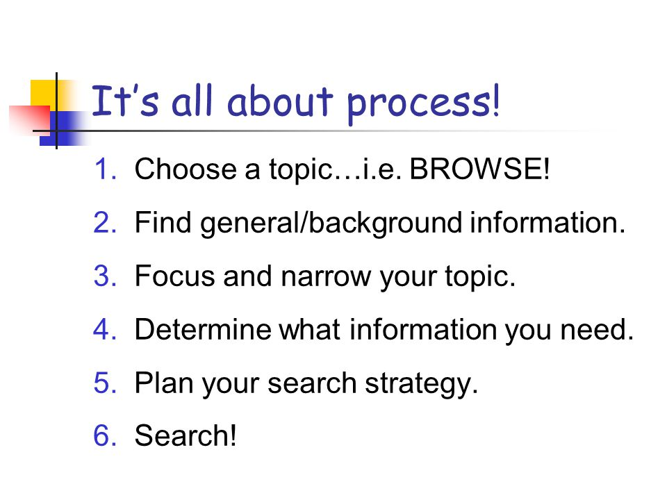 It's all about process! 1. Choose a topic…i.e. BROWSE! 2. Find general/background information. 3. Focus and narrow your topic. 4. Determine what infor