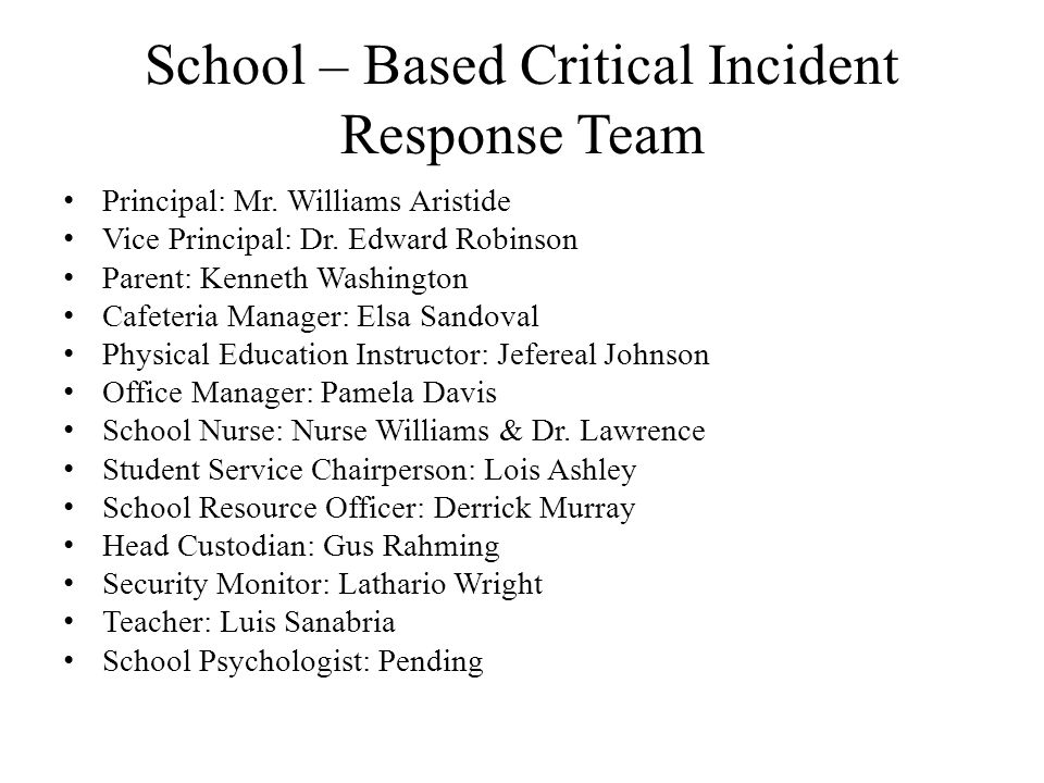 School – Based Critical Incident Response Team Principal: Mr. Williams Aristide Vice Principal: Dr. Edward Robinson Parent: Kenneth Washington Cafeter