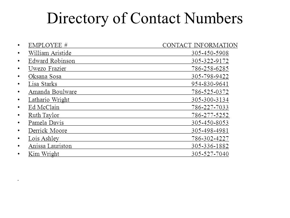 Directory of Contact Numbers EMPLOYEE # CONTACT INFORMATION William Aristide305-450-5908 Edward Robinson305-322-9172 Uwezo Frazier786-258-6285 Oksana