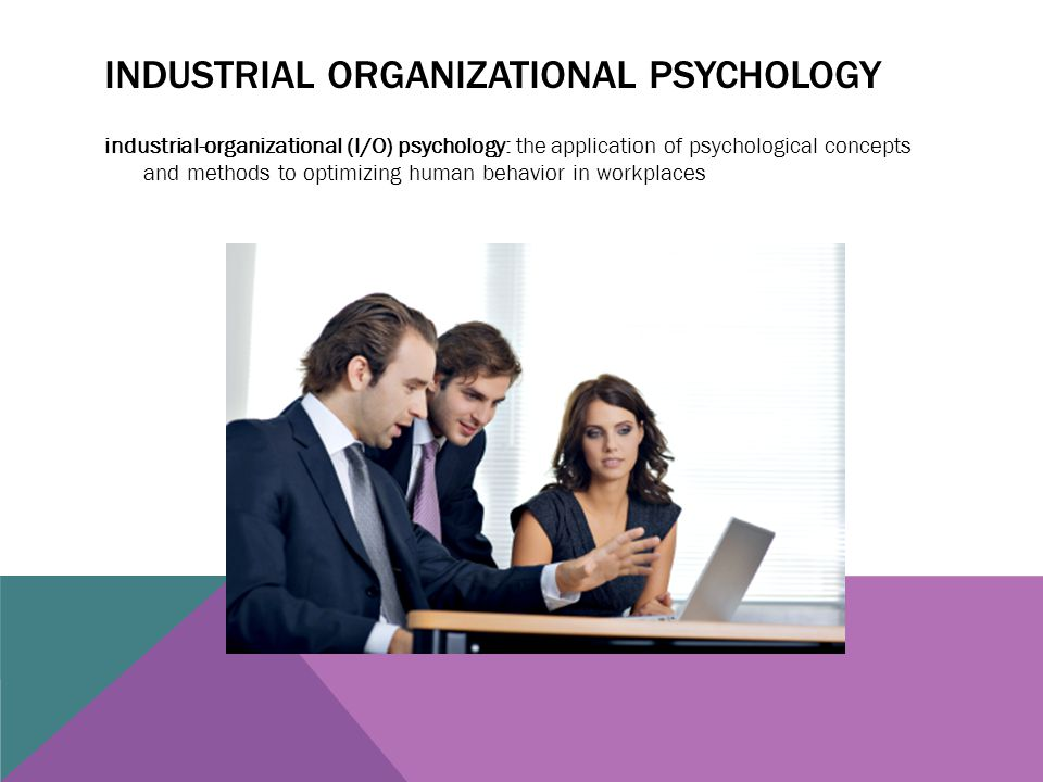 INDUSTRIAL ORGANIZATIONAL PSYCHOLOGY industrial-organizational (I/O) psychology: the application of psychological concepts and methods to optimizing h