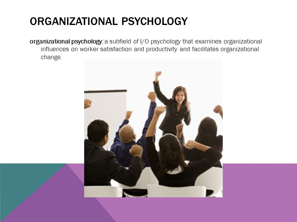 ORGANIZATIONAL PSYCHOLOGY organizational psychology: a subfield of I/O psychology that examines organizational influences on worker satisfaction and p