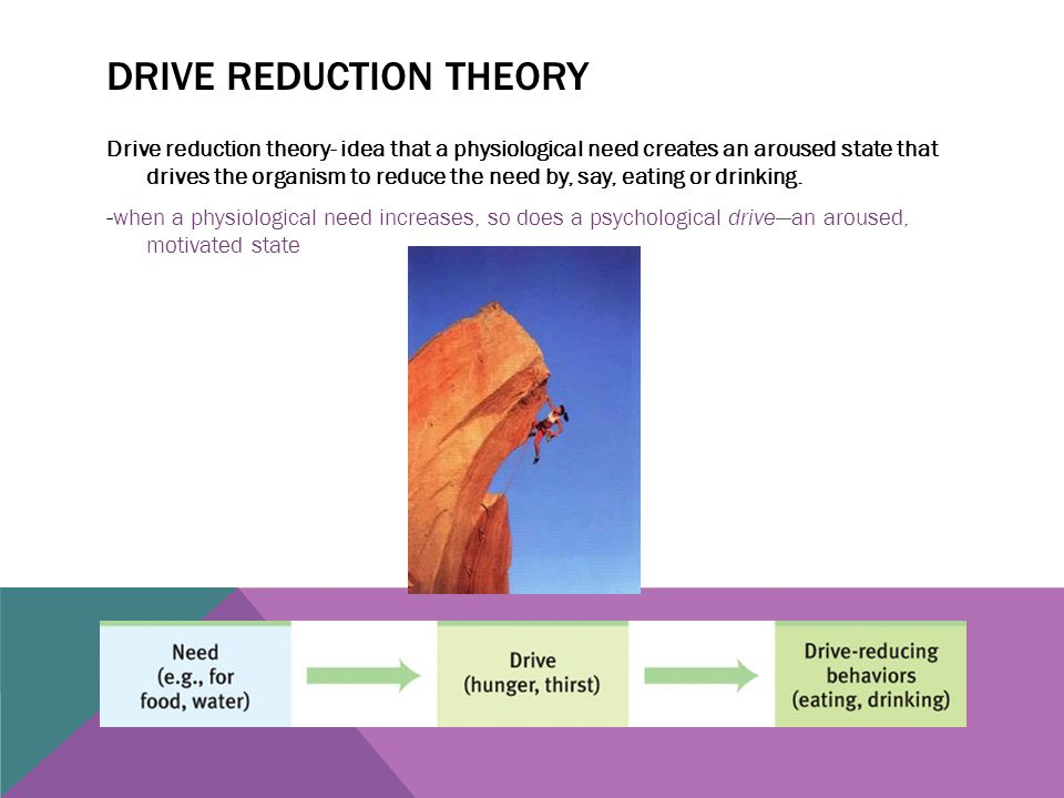 DRIVE REDUCTION THEORY Drive reduction theory- idea that a physiological need creates an aroused state that drives the organism to reduce the need by,