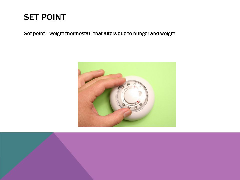 "SET POINT Set point- ""weight thermostat"" that alters due to hunger and weight"