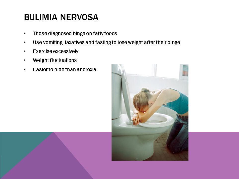 BULIMIA NERVOSA Those diagnosed binge on fatty foods Use vomiting, laxatives and fasting to lose weight after their binge Exercise excessively Weight
