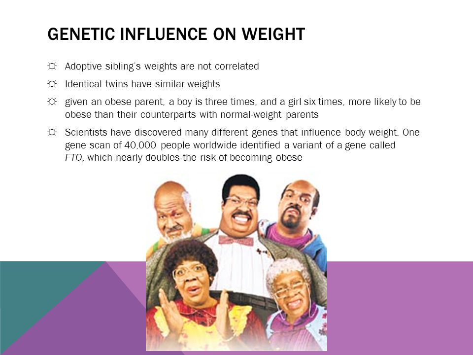 GENETIC INFLUENCE ON WEIGHT ☼Adoptive sibling's weights are not correlated ☼Identical twins have similar weights ☼given an obese parent, a boy is thre