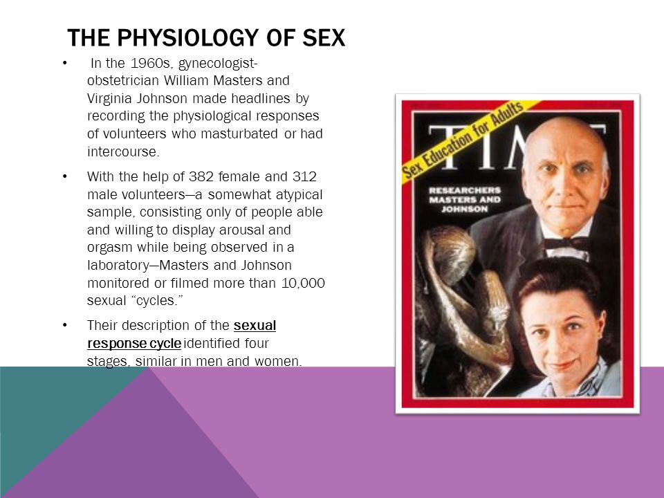THE PHYSIOLOGY OF SEX In the 1960s, gynecologist- obstetrician William Masters and Virginia Johnson made headlines by recording the physiological resp