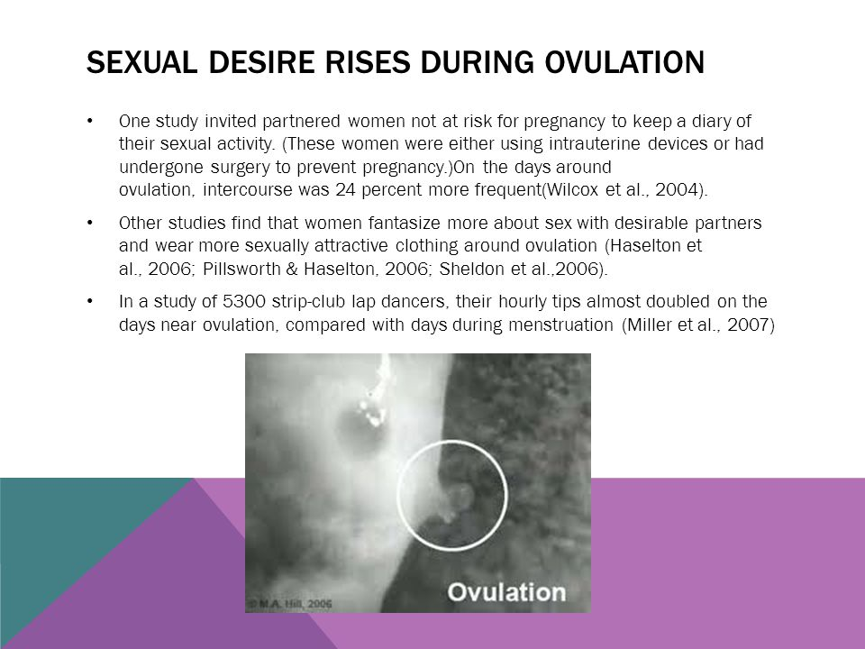 SEXUAL DESIRE RISES DURING OVULATION One study invited partnered women not at risk for pregnancy to keep a diary of their sexual activity. (These wome