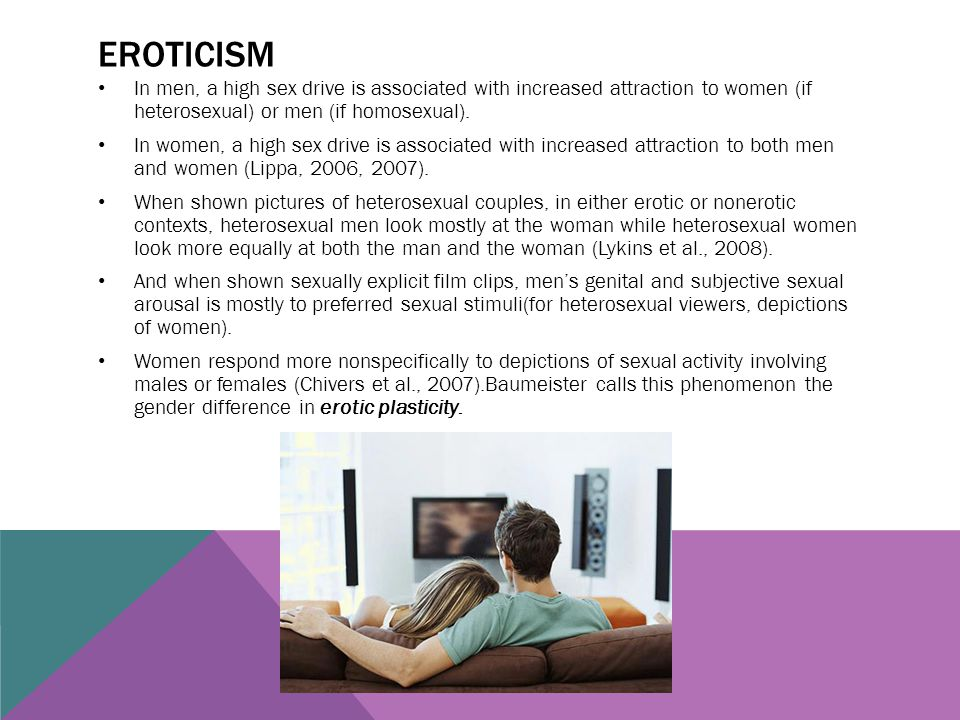 EROTICISM In men, a high sex drive is associated with increased attraction to women (if heterosexual) or men (if homosexual). In women, a high sex dri
