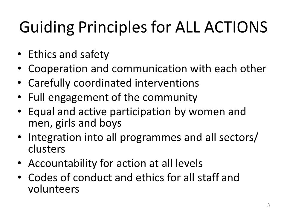 Guiding Principles for ALL ACTIONS Ethics and safety Cooperation and communication with each other Carefully coordinated interventions Full engagement of the community Equal and active participation by women and men, girls and boys Integration into all programmes and all sectors/ clusters Accountability for action at all levels Codes of conduct and ethics for all staff and volunteers 3