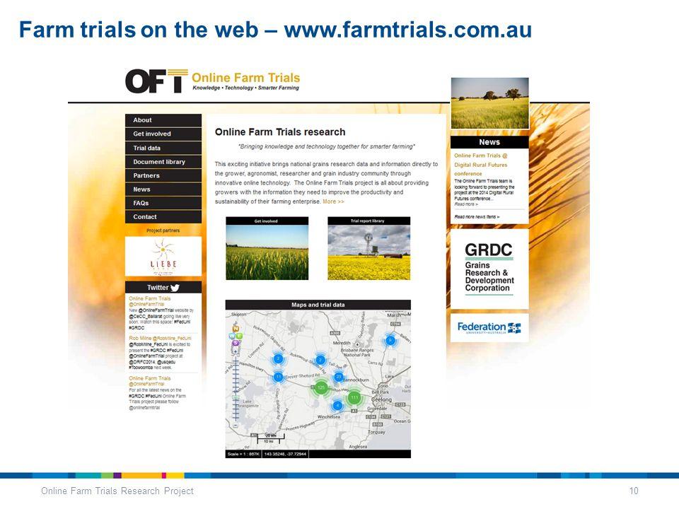 Farm trials on the web – www.farmtrials.com.au Online Farm Trials Research Project10
