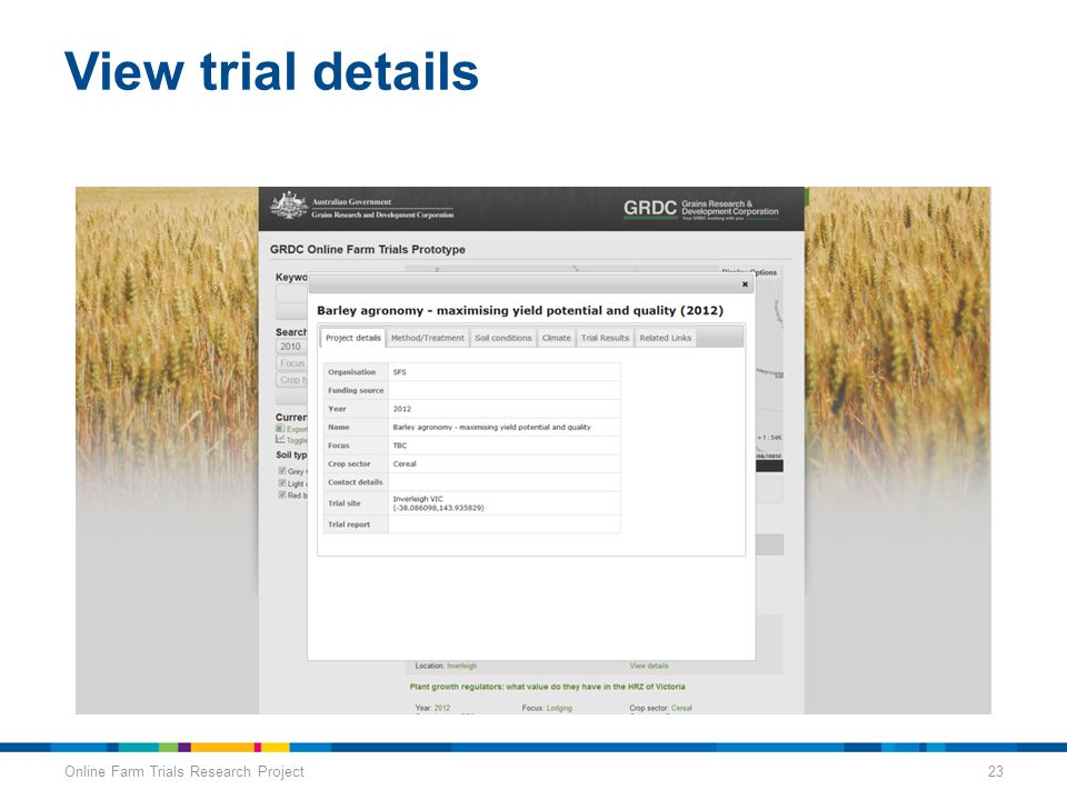 View trial details Online Farm Trials Research Project23