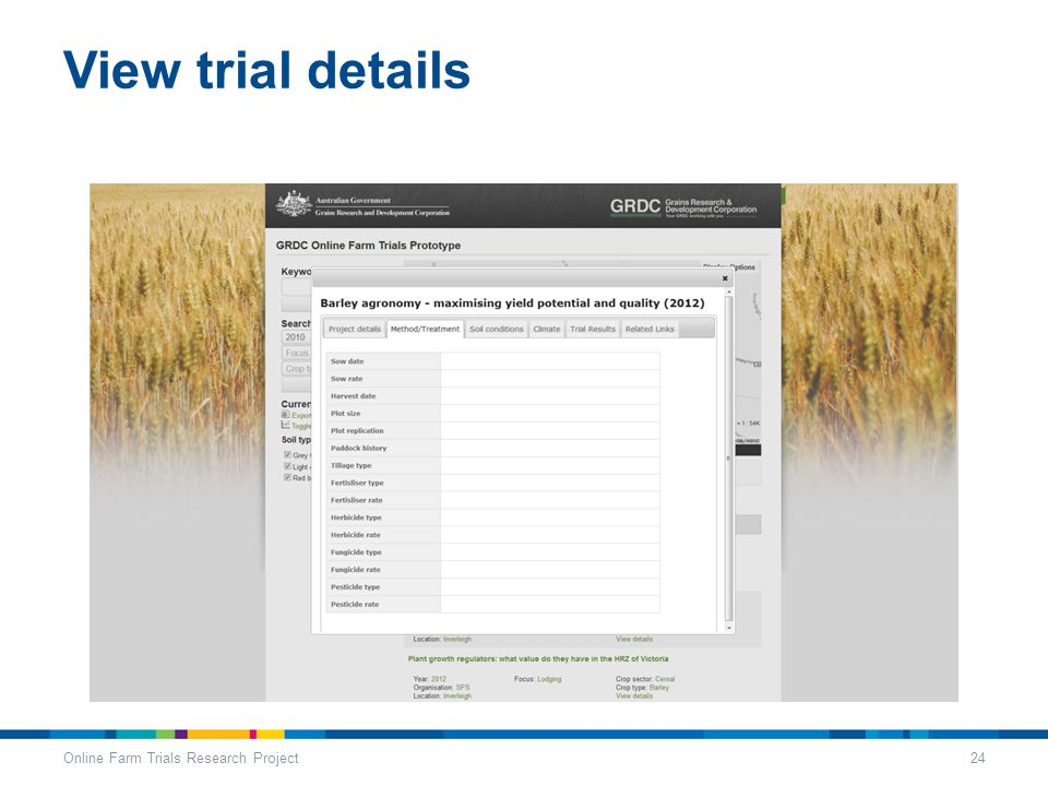 View trial details Online Farm Trials Research Project24