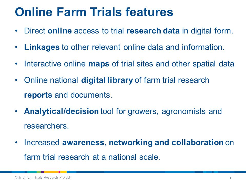Online Farm Trials features Direct online access to trial research data in digital form.