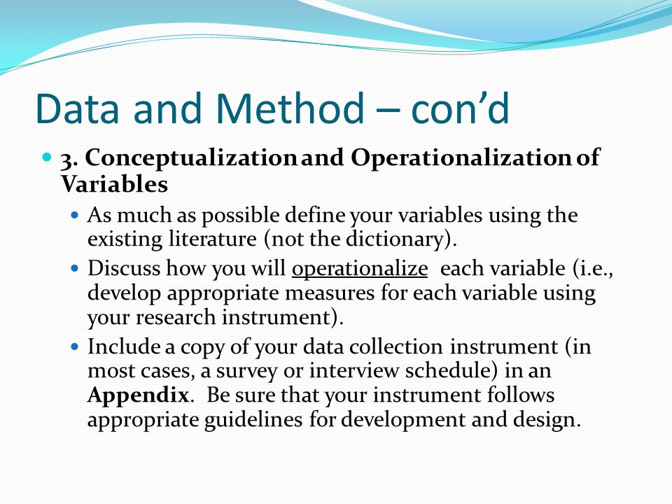 Data and Method – con'd 3.