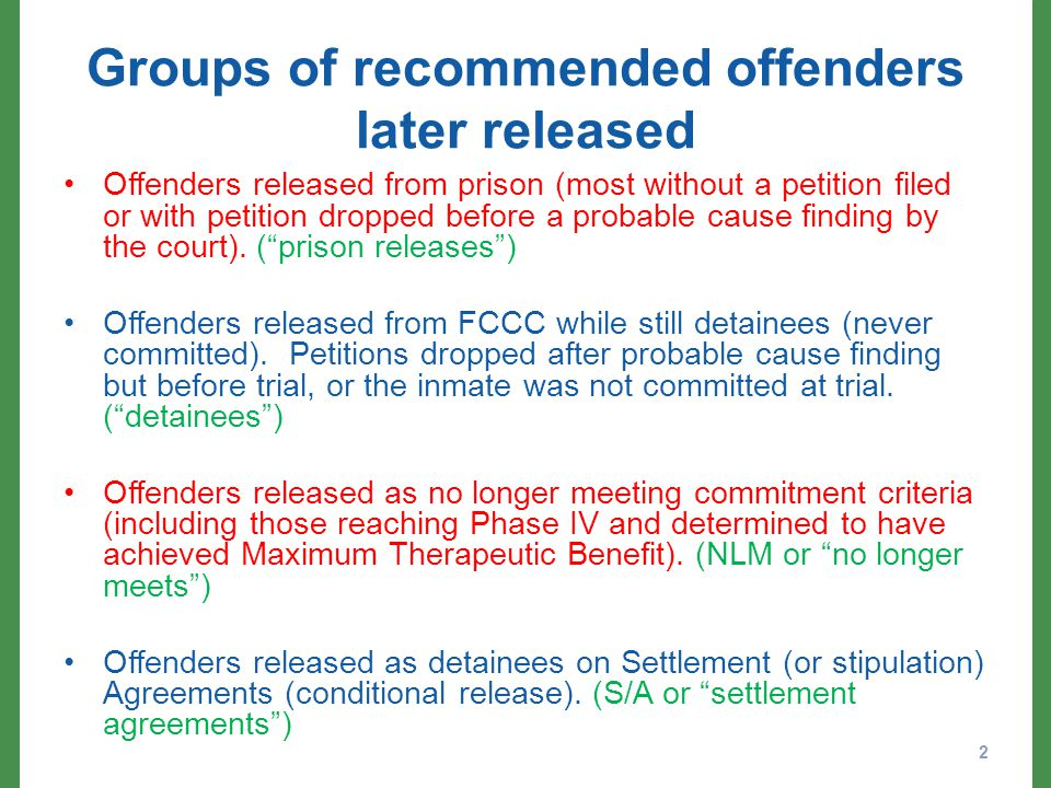 Groups of recommended offenders later released Offenders released from prison (most without a petition filed or with petition dropped before a probable cause finding by the court).