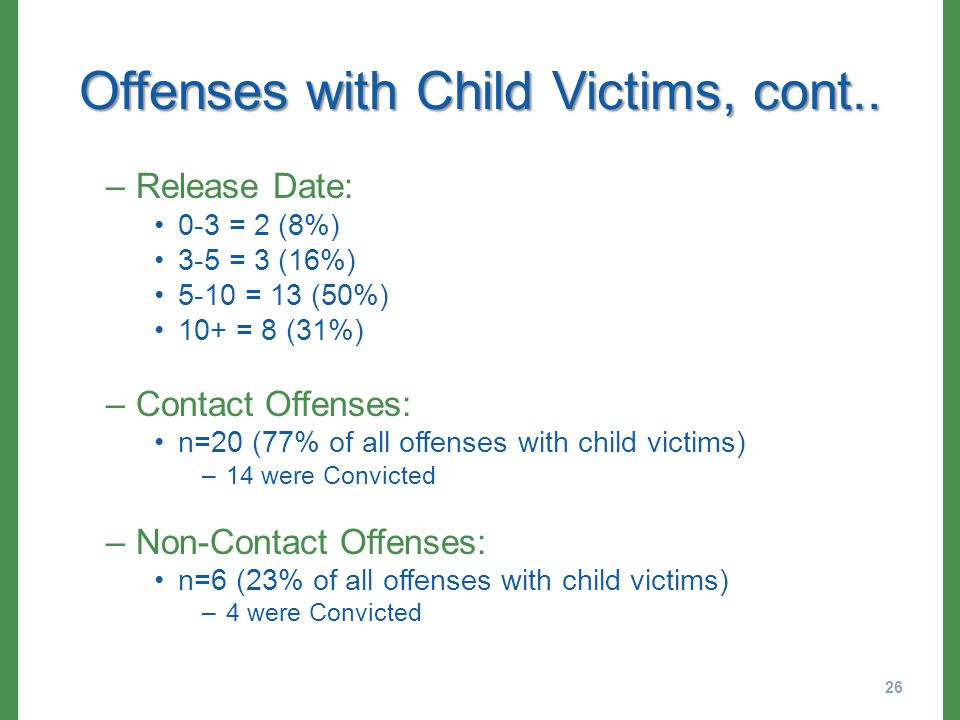 Offenses with Child Victims, cont..
