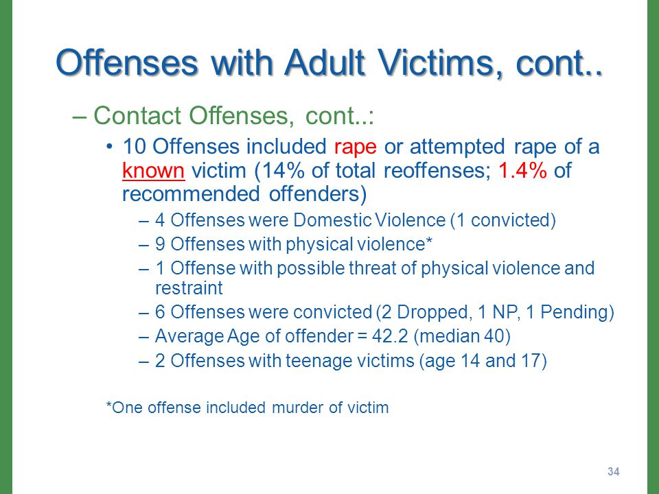 Offenses with Adult Victims, cont..