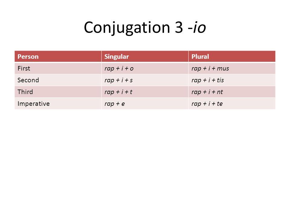 Conjugation 3 -io PersonSingularPlural Firstrap + i + orap + i + mus Secondrap + i + srap + i + tis Thirdrap + i + trap + i + nt Imperativerap + erap + i + te