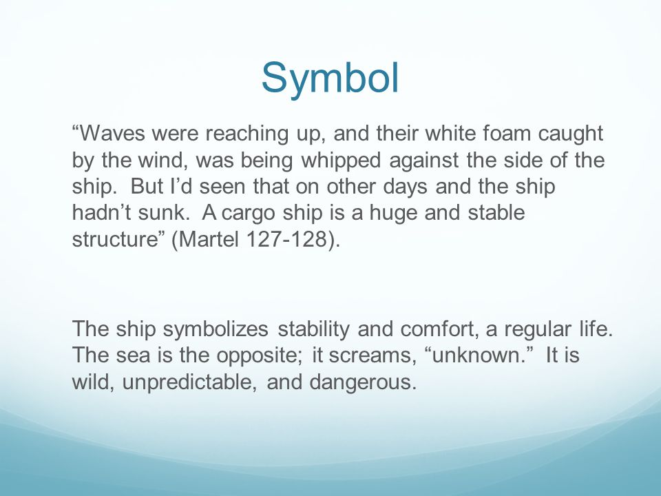 Symbol Waves were reaching up, and their white foam caught by the wind, was being whipped against the side of the ship.