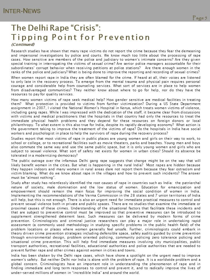 I NTER -N EWS Page 6 From Eve-Teasing to Football Players: Women's Safety in International Perspective By Margaret Shaw,Ph.D.