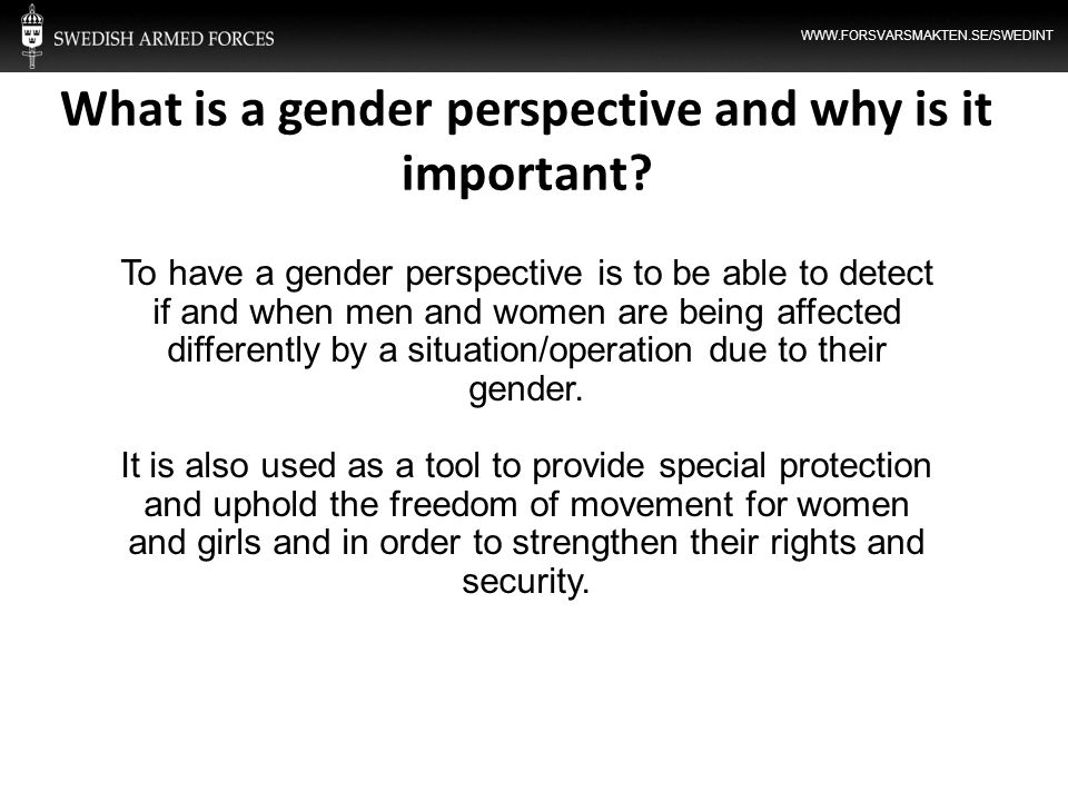 WWW.FORSVARSMAKTEN.SE/SWEDINT What is a gender perspective and why is it important? To have a gender perspective is to be able to detect if and when m
