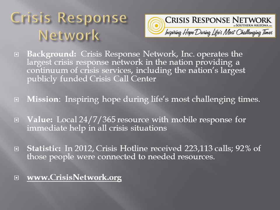 Background: Crisis Response Network, Inc.