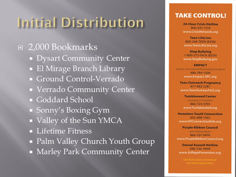  2,000 Bookmarks  Dysart Community Center  El Mirage Branch Library  Ground Control-Verrado  Verrado Community Center  Goddard School  Sonny's Boxing Gym  Valley of the Sun YMCA  Lifetime Fitness  Palm Valley Church Youth Group  Marley Park Community Center