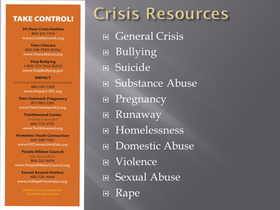  General Crisis  Bullying  Suicide  Substance Abuse  Pregnancy  Runaway  Homelessness  Domestic Abuse  Violence  Sexual Abuse  Rape