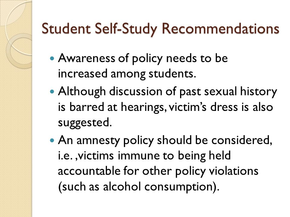 Student Self-Study Recommendations Awareness of policy needs to be increased among students.