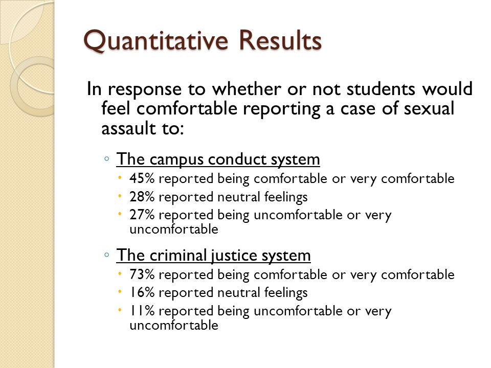 Quantitative Results In response to whether or not students would feel comfortable reporting a case of sexual assault to: ◦ The campus conduct system  45% reported being comfortable or very comfortable  28% reported neutral feelings  27% reported being uncomfortable or very uncomfortable ◦ The criminal justice system  73% reported being comfortable or very comfortable  16% reported neutral feelings  11% reported being uncomfortable or very uncomfortable