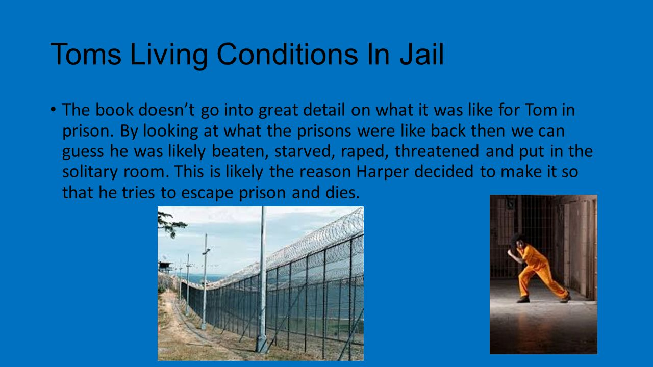 Toms Living Conditions In Jail The book doesn't go into great detail on what it was like for Tom in prison. By looking at what the prisons were like b