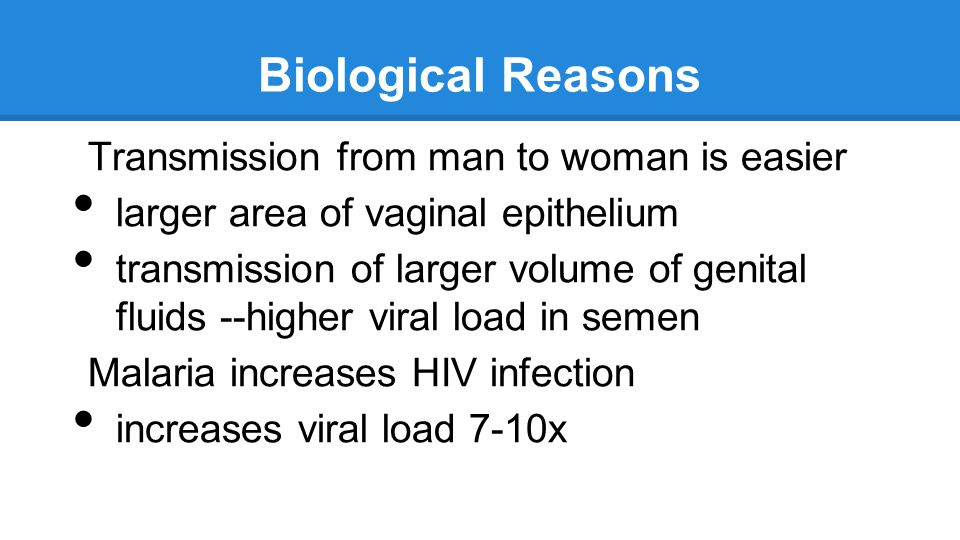 Biological Reasons Transmission from man to woman is easier larger area of vaginal epithelium transmission of larger volume of genital fluids --higher viral load in semen Malaria increases HIV infection increases viral load 7-10x