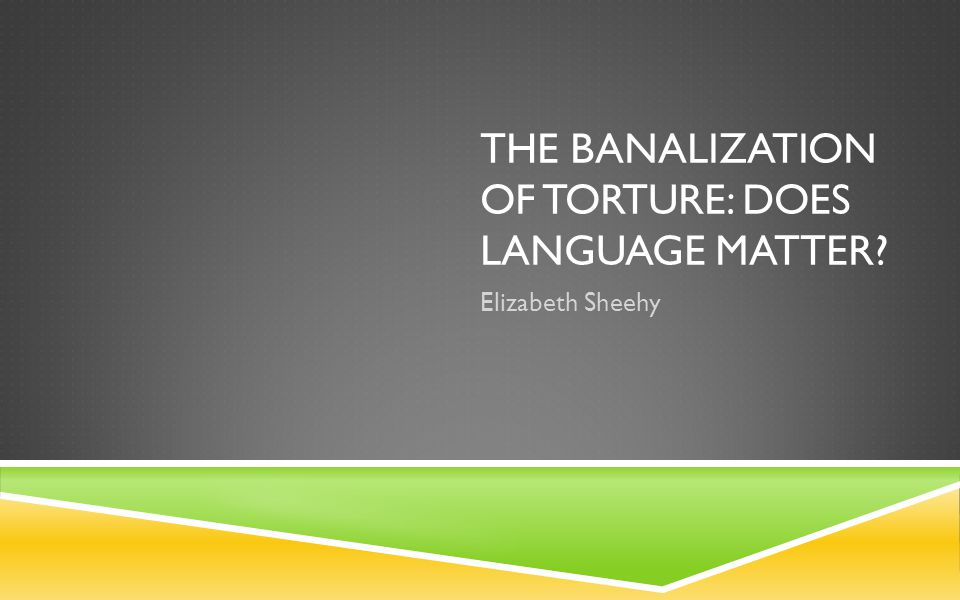 THE BANALIZATION OF TORTURE: DOES LANGUAGE MATTER? Elizabeth Sheehy