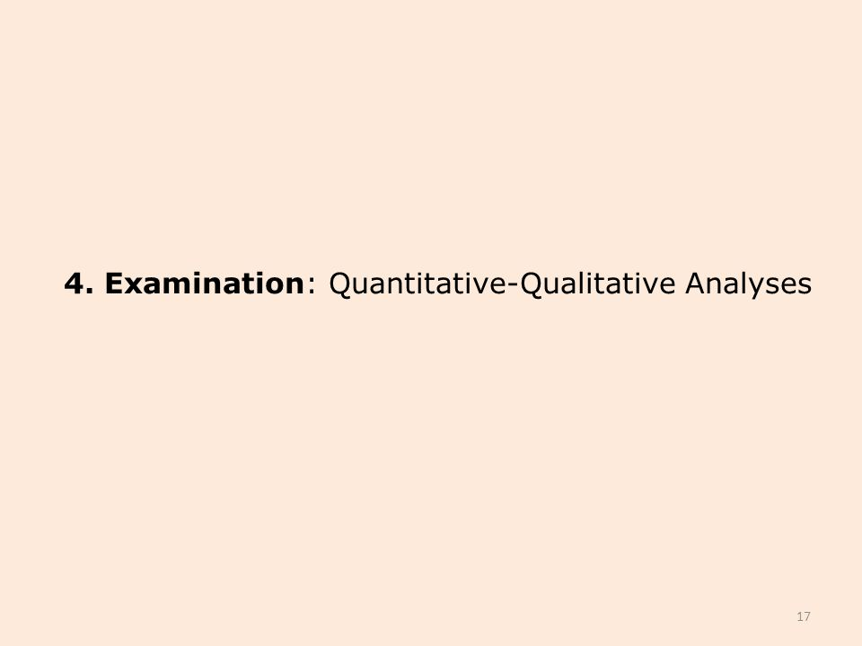 4. Examination: Quantitative-Qualitative Analyses 17