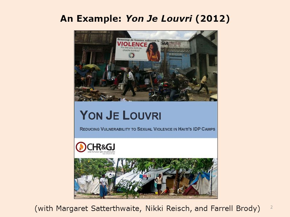 (with Margaret Satterthwaite, Nikki Reisch, and Farrell Brody) An Example: Yon Je Louvri (2012) 2