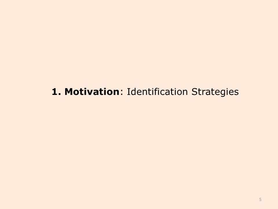 1. Motivation: Identification Strategies 5
