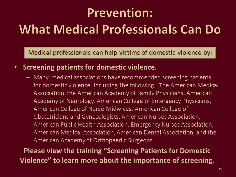 Screening patients for domestic violence. – Many medical associations have recommended screening patients for domestic violence, including the followi