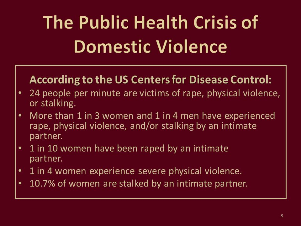 The National Domestic Violence Hotline If you or a patient have any questions about domestic violence, or need help, call: 1-800-799-7233 39