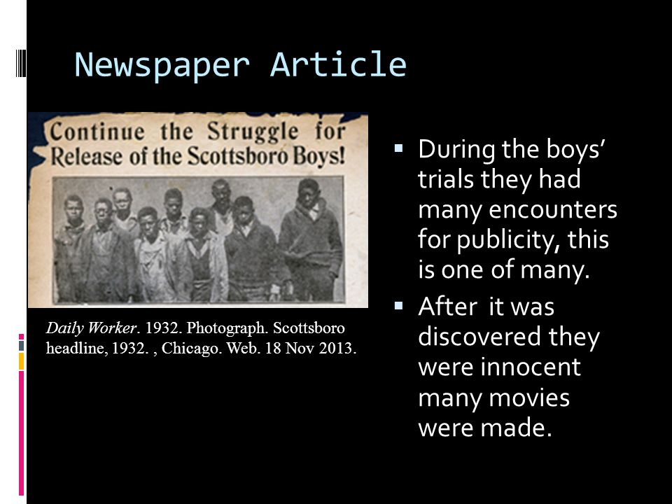 Newspaper Article  During the boys' trials they had many encounters for publicity, this is one of many.